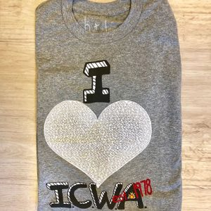 folded i love icwa shirt with white heart