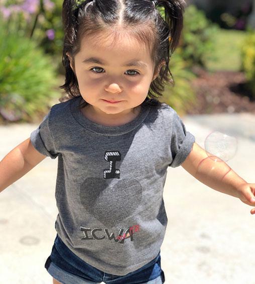 toddler wearing i love icwa shirt
